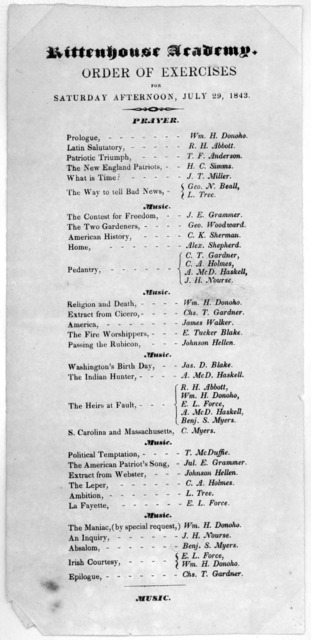 Rittenhouse academy. Order of exercises for Saturday afternoon, July 29, 1843. [Washington, 1843.].