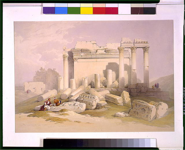 Ruins of the eastern portico of the Temple of Baalbec May 6th 1839 / David Roberts, R.A.