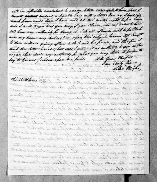 Silas Wright, Jr. to Francis Preston Blair, December 18, 1843