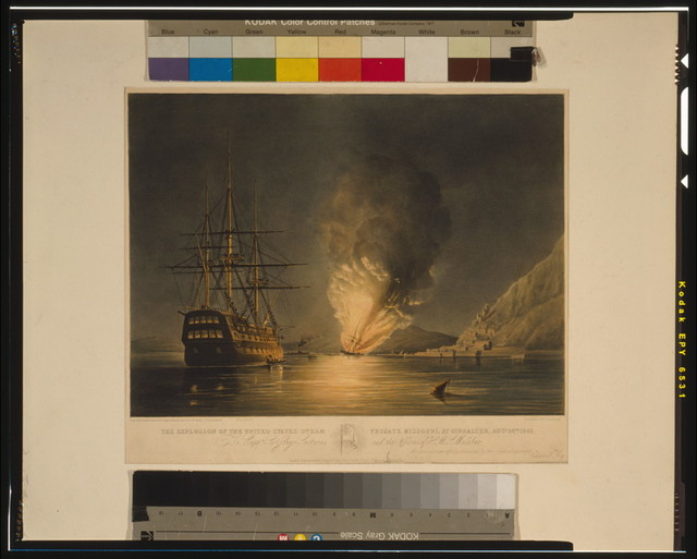 The explosion of the United States Steam Frigate Missouri, at Gibralter [sic], Aug. 26th, 1843 To Captn. Sir George Sartorius and the Officers of the H.M.S. Malabar--this print is respectfully dedicated by their obedient servant, Edmund Fry / / drawn by E. Duncan, from a sketch made on the spot by Lieut. G.P. Mands, T.G. Dutton lith.; Day & Haghe lithrs. to the Queen.