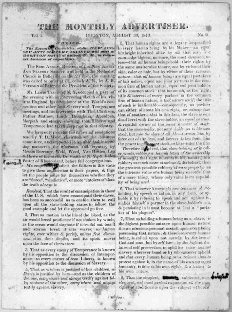 The Monthly advertiser. Boonton, August 30, 1843. Vol. 1 no. 2.
