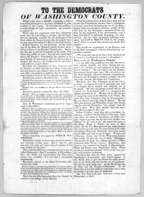 To the Democrats of Washington County. Within a few days, a handbill, containing a letter from General Carpenter, has been circulated in great numbers in this country ... [1843?].