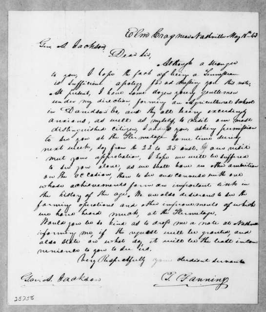 Tolbert Fanning to Andrew Jackson, May 18, 1843