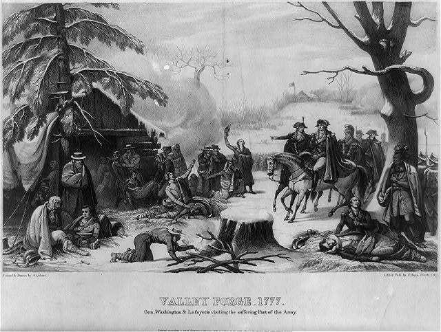 Valley Forge, 1777. Gen. Washington and Lafayette visiting the suffering part of the army / painted and drawn by A. Gibert ; lith and publ. by P. Haas, Wash. City.