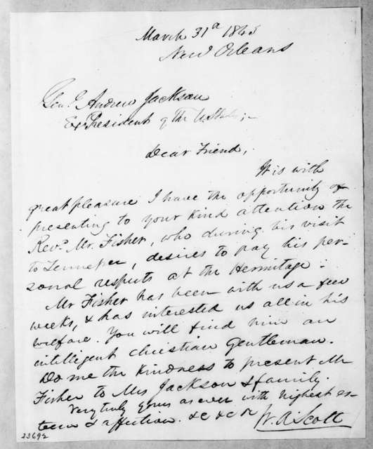 William Anderson Scott to Andrew Jackson, March 31, 1843