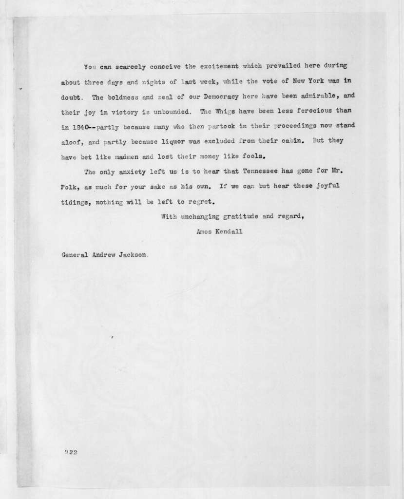 Amos Kendall to Andrew Jackson, November 12, 1844