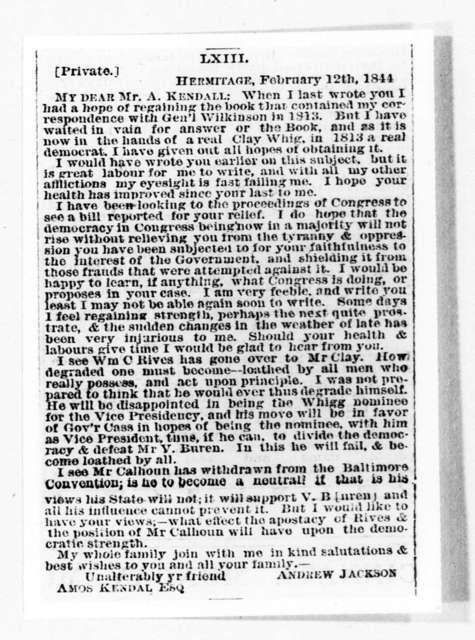 Andrew Jackson to Amos Kendall, February 12, 1844