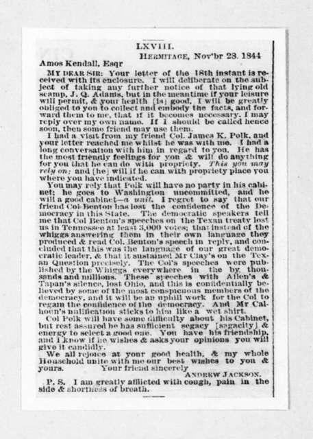 Andrew Jackson to Amos Kendall, November 28, 1844