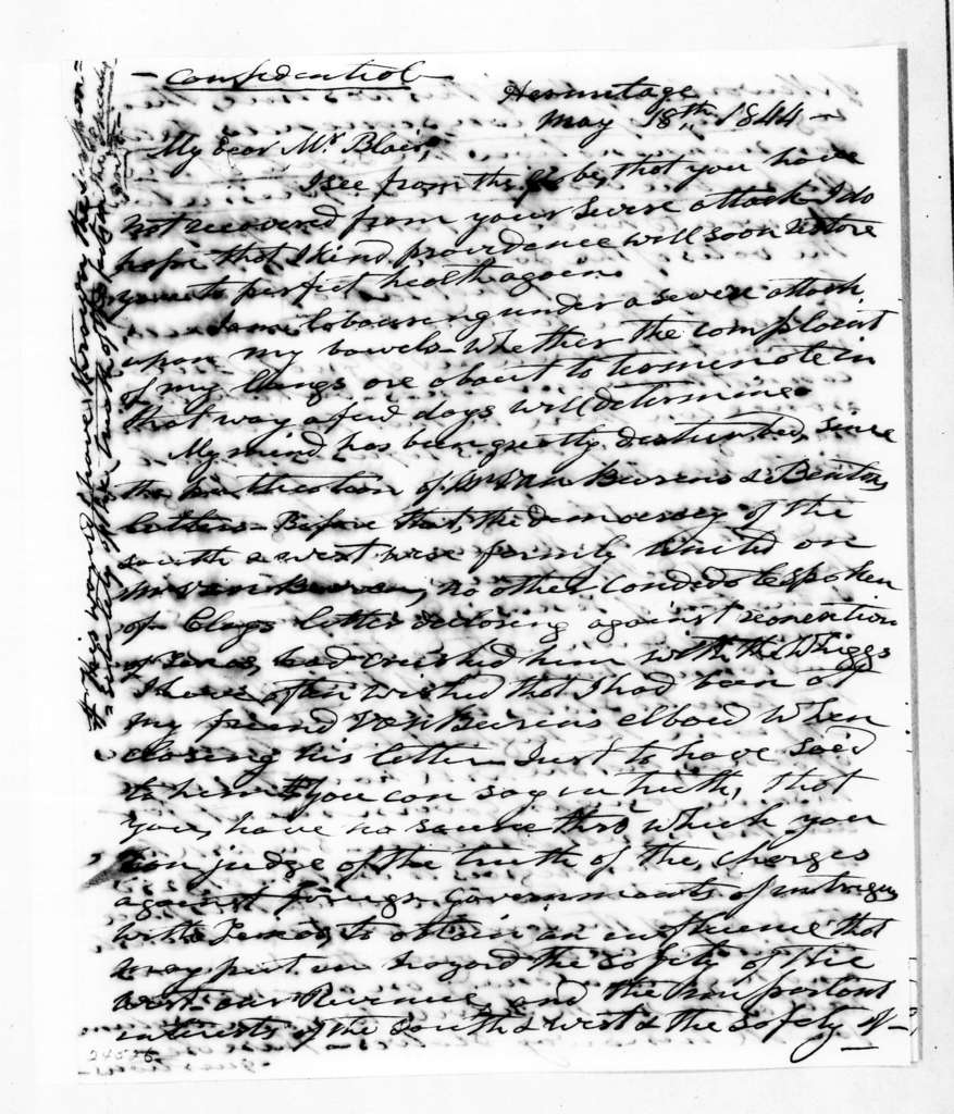 Andrew Jackson to Francis Preston Blair, May 18, 1844