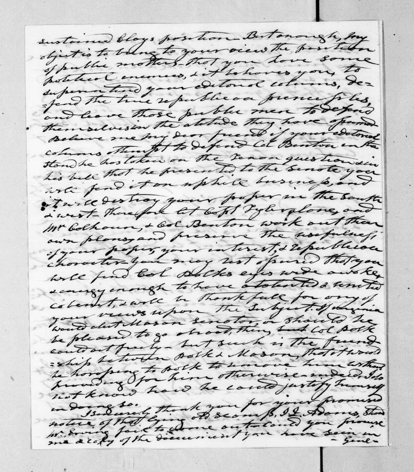 Andrew Jackson to Francis Preston Blair, November 29, 1844