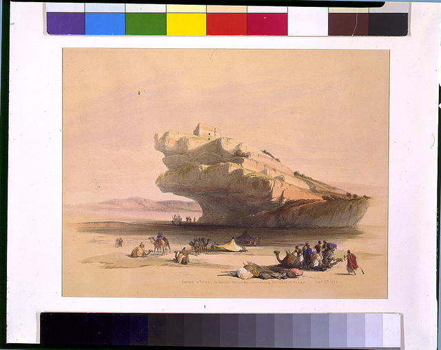Approach to Petra an ancient watch tower commanding the Valley of El Ghor Feb. 5th 1839