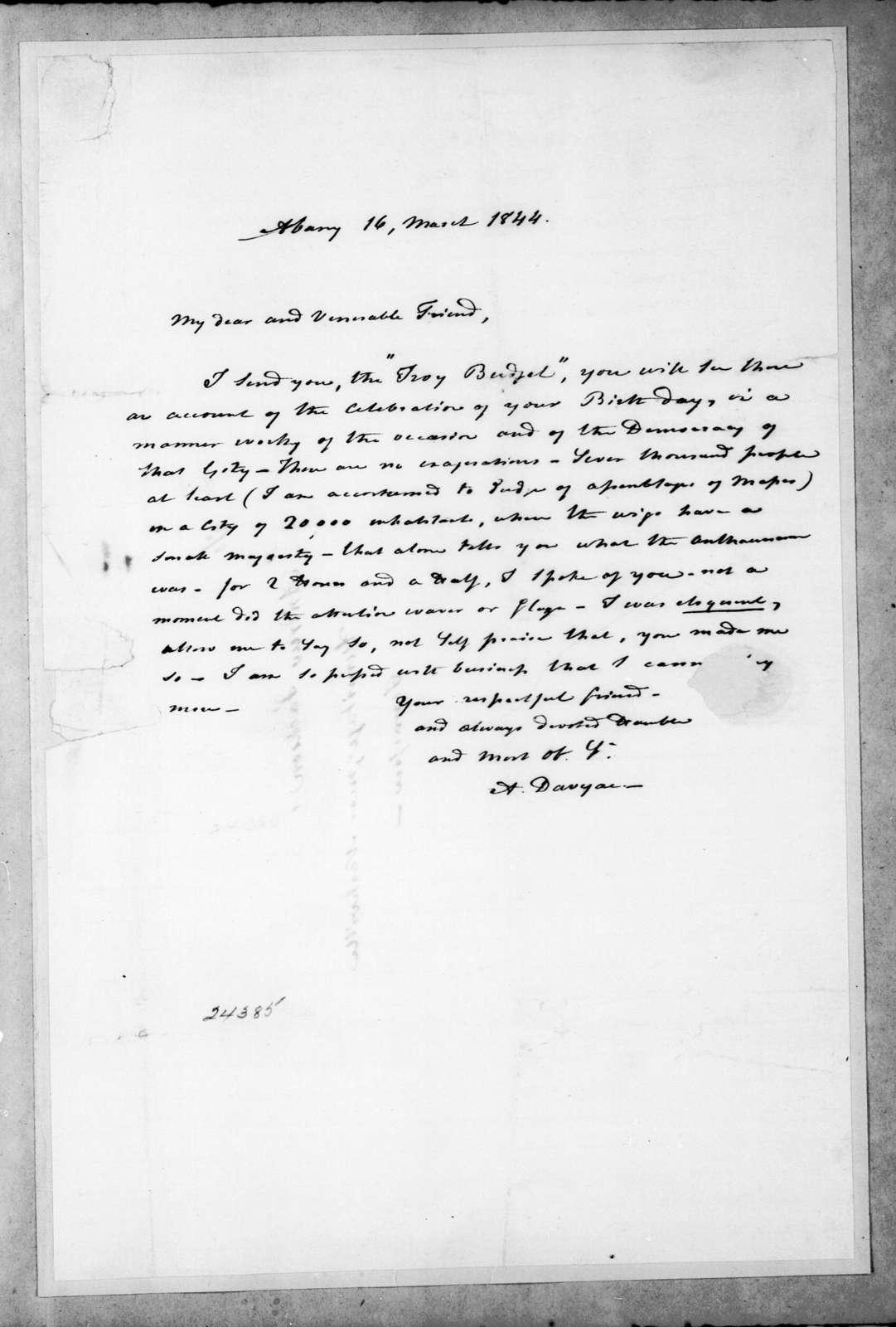 Auguste Genevieve Valentin Davezac to Andrew Jackson, March 16, 1844