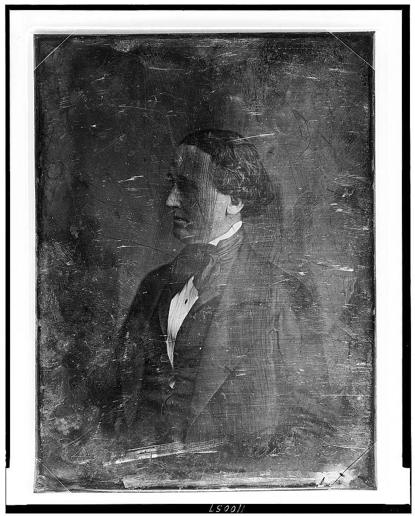 [Balie Peyton, half-length portrait, face nearly in profile to the left]