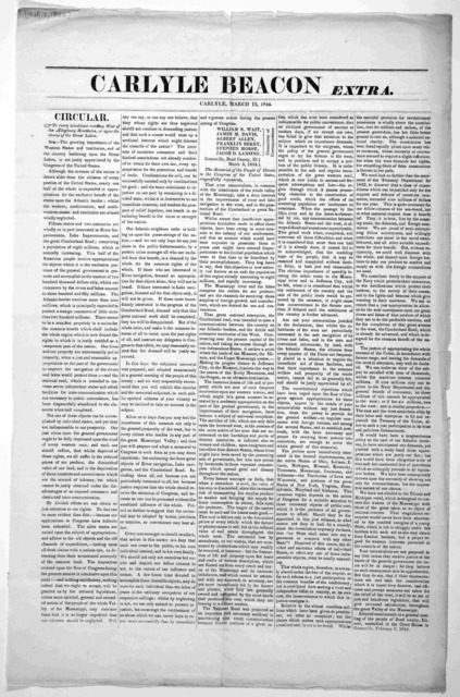 Carlyle Beacon extra. Carlyle, March 12, 1844.