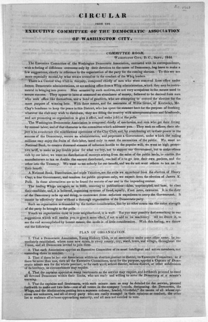 Circular from the Executive committee of the Democratic association of Washington City. Washington City, D. C. Sept. 1844.