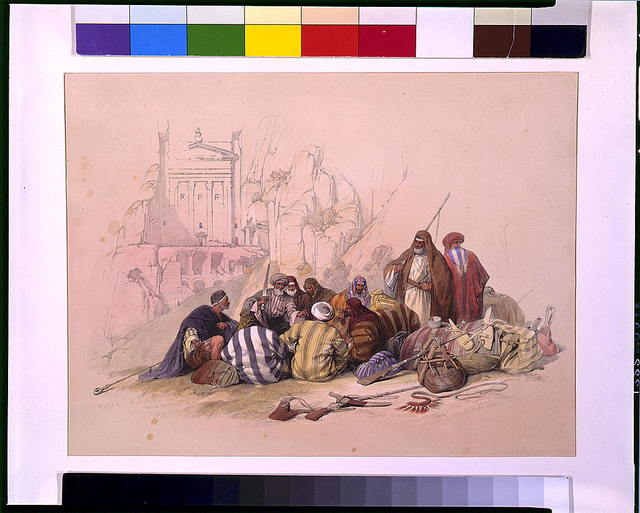 Conference of Arabs at Wady Moosa, Petra March 6th 1839 / David Roberts.