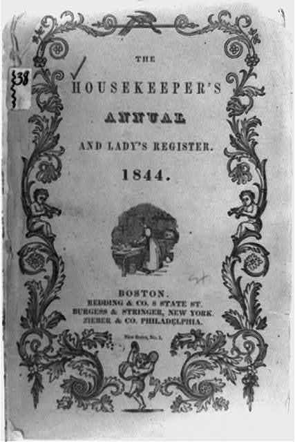[Cover of The Housekeeper's Annual and Lady's Register, illustrated with woman working in kitchen and ornate border]
