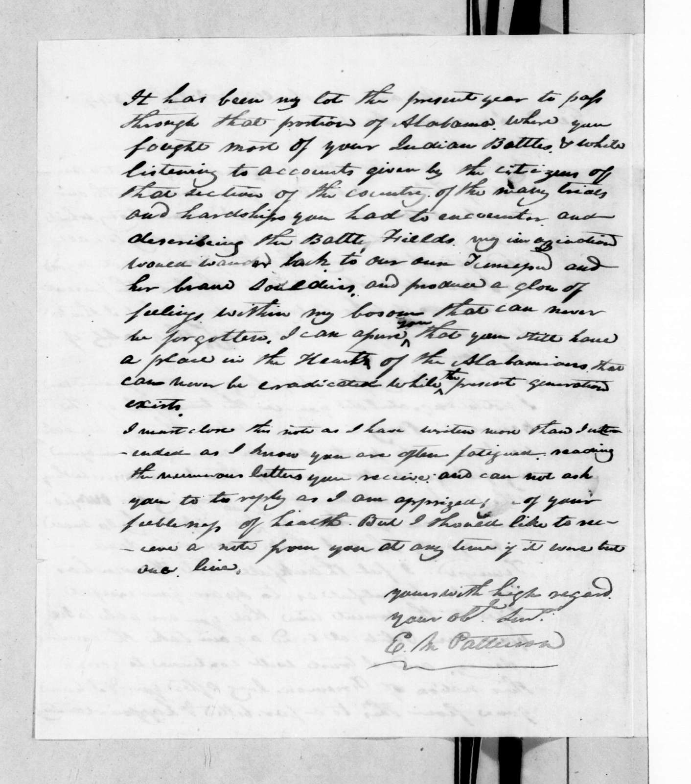 E. M. Patterson to Andrew Jackson, November 24, 1844