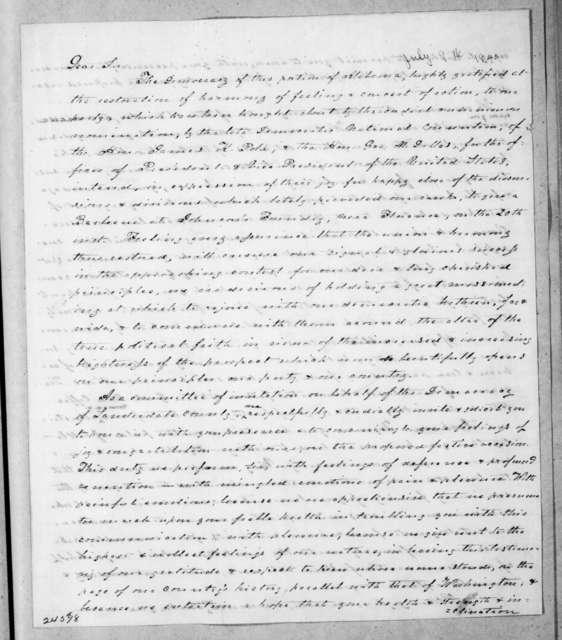 Edward Asbury O'Neal to Andrew Jackson, July 9, 1844