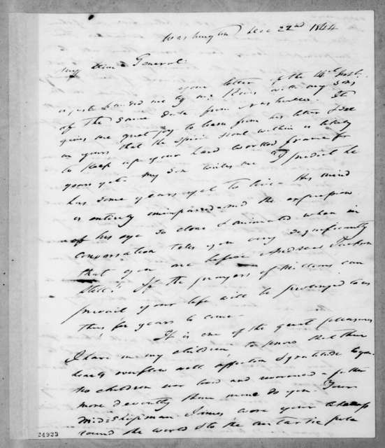 Francis Preston Blair to Andrew Jackson, December 22, 1844