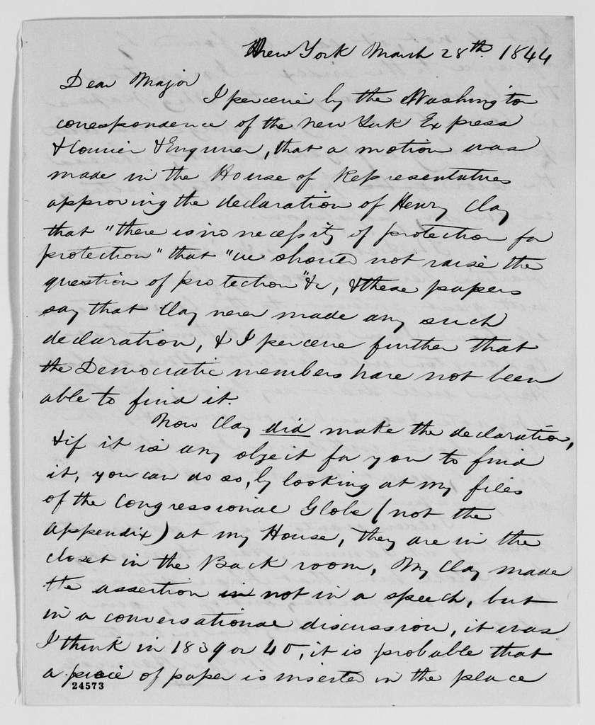 Gideon Welles Papers: Correspondence, 1820-1878; 1844, Mar.-Nov