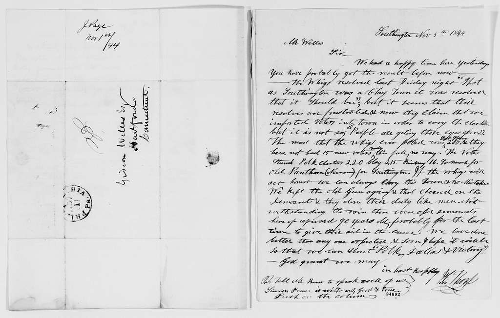 Gideon Welles Papers: Correspondence, 1820-1878; 1844, Mar.-Nov