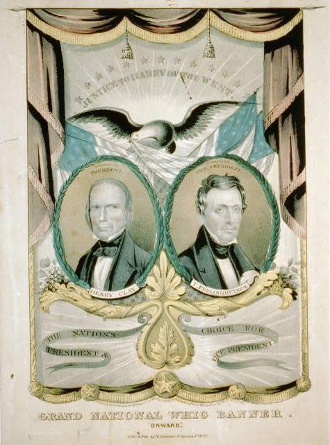 "Grand National Whig banner. ""Onward"""