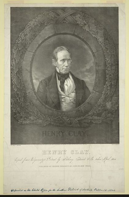 Henry Clay Copied from a daguerreotype portrait by Anthony, Edwards & Co. taken April 1844 / / on stone by F. Davignon ; lith. of Endicott.