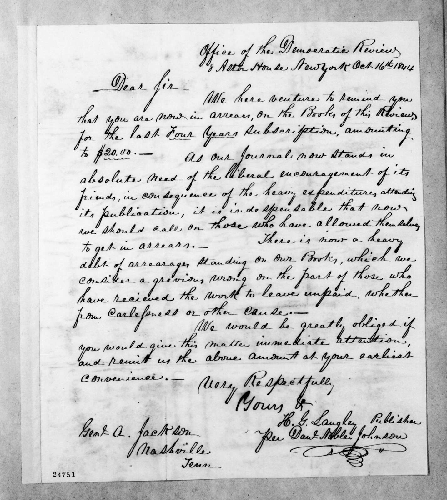 Henry G. Langley to Andrew Jackson, October 16, 1844