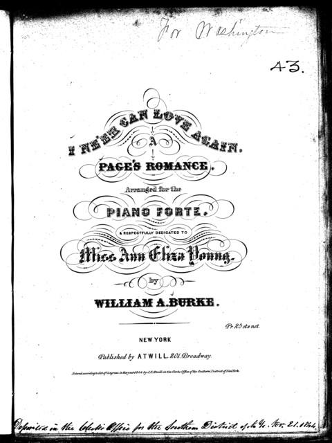 I ne'er can love again, a page's romance