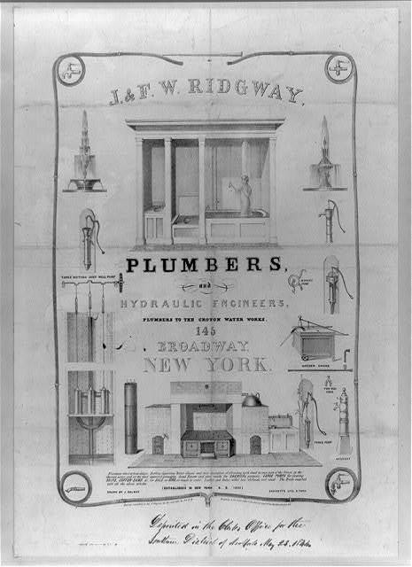 J. & F.W. Ridgway, plumbers and hydraulic engineers, plumbers to the Croton Water Works, 145 Broadway, New York / drawn by J. Calwey.
