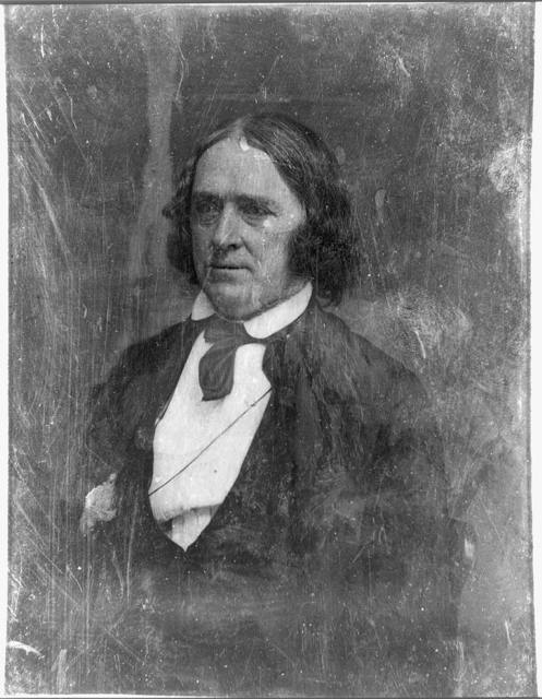[John A. Dix, half-length portrait, three-quarters to the left, in civilian dress, with long hair]
