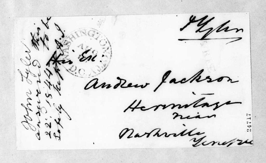John Tyler to Andrew Jackson, September 22, 1844