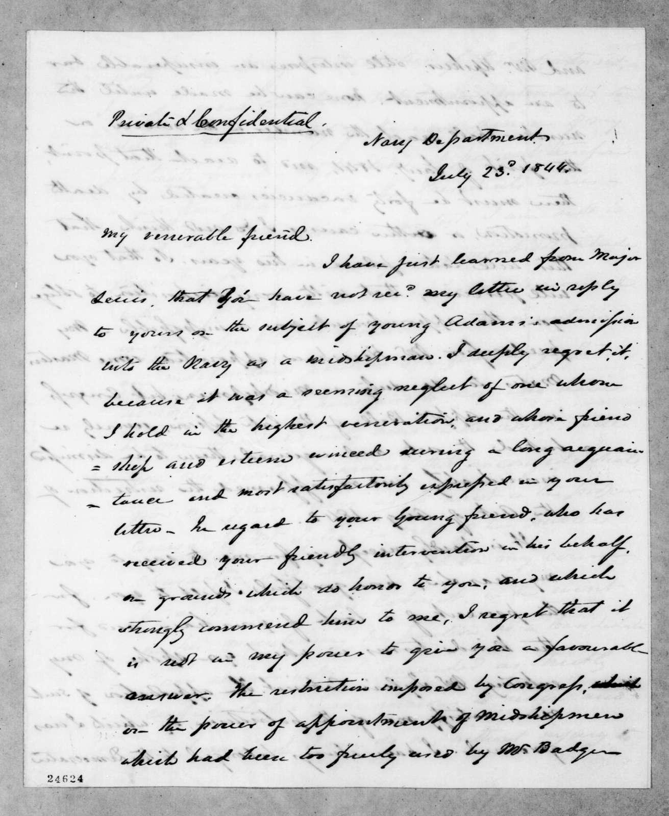 John Young Mason to Andrew Jackson, July 23, 1844
