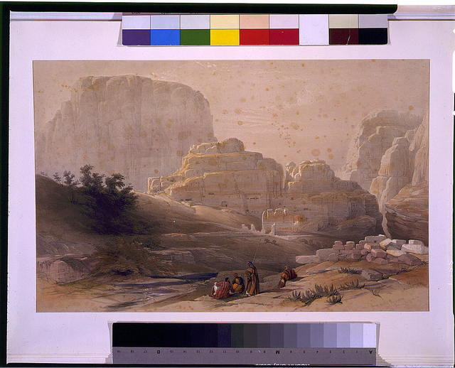 Lower end of the valley showing the Acropolis Petra March 9th 1839 / David Roberts.