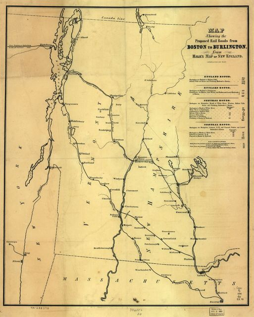 Map showing the proposed rail roads from Boston to Burlington, from Hale's map of New England.