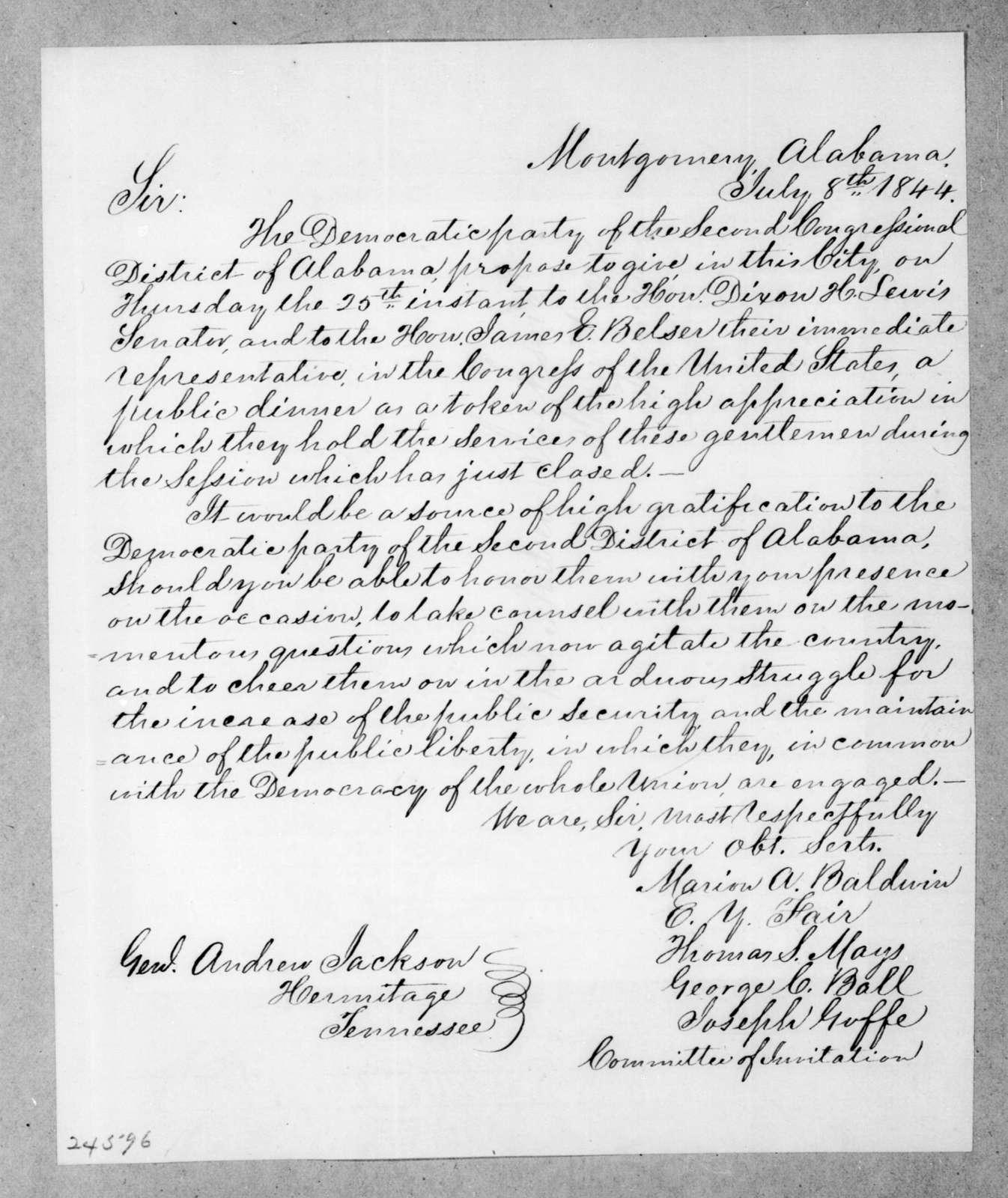Marion Augustus Baldwin et al. to Andrew Jackson, July 8, 1844