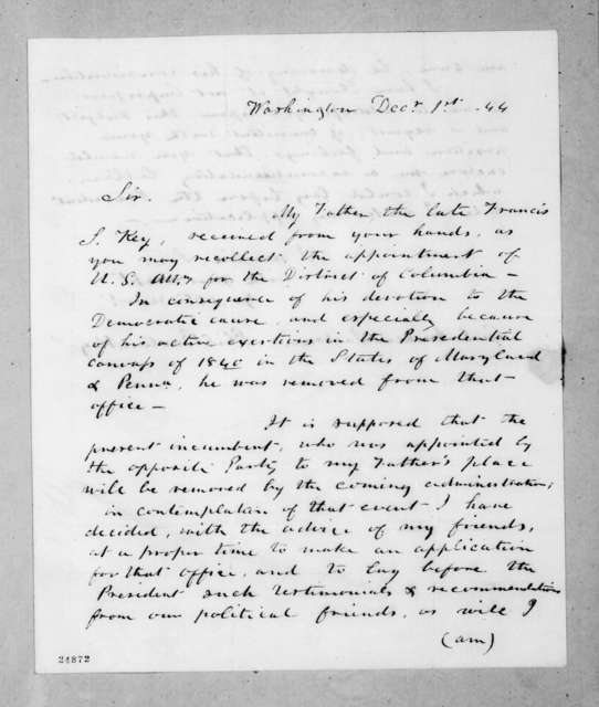 Phil Barton Key to Andrew Jackson, December 1, 1844