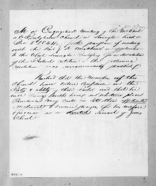 Regarding a meeting of the Second Presbyterian Church of Lexington, December 5, 1844