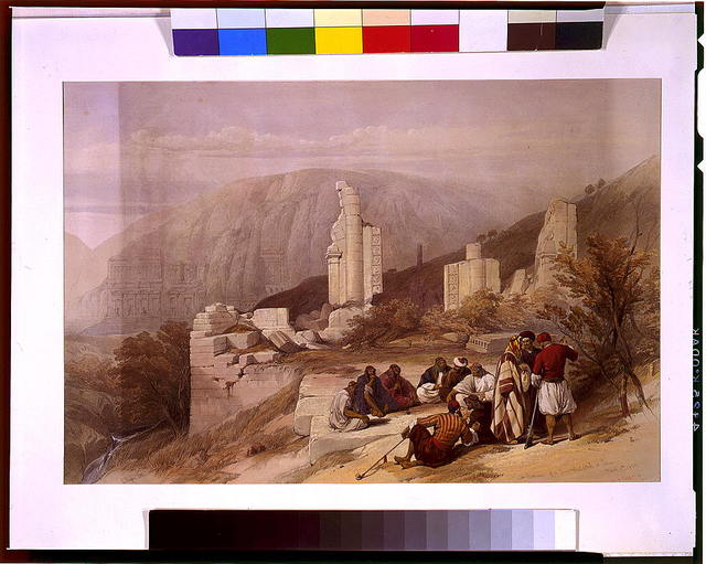Remains of a triumphal arch at Petra March 8th 1839 / David Roberts.