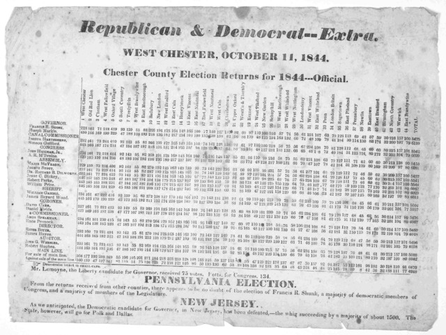 Republican & Democrat -- Extra. West Chester, October 11, 1844. Chester County election returns for 1844--- Official.