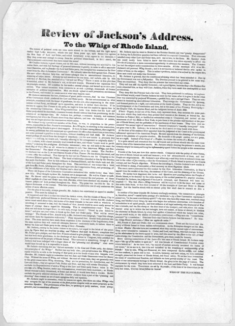 Review of Jackson's address to the Whigs of Rhode Island ... [Signed] Whig of the Old School [1844].