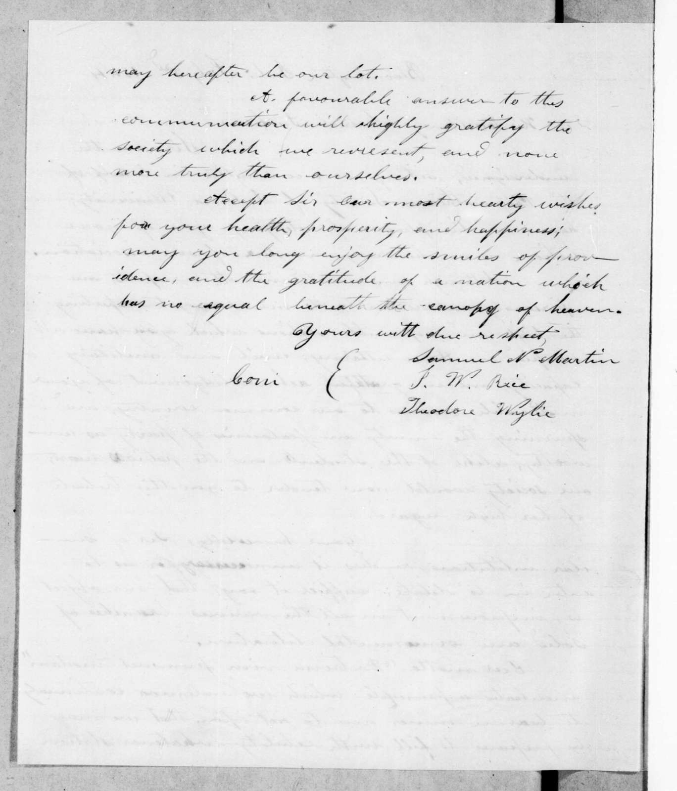 Samuel N. Martin to Andrew Jackson, July 3, 1844