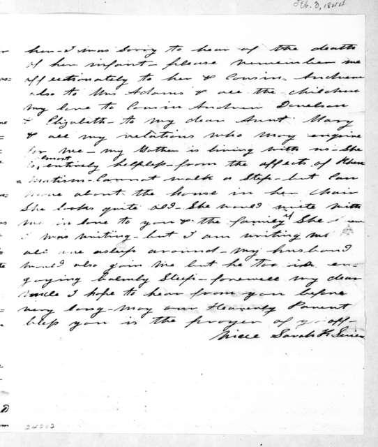 Sarah (Knox) Sevier to Andrew Jackson, February 3, 1844
