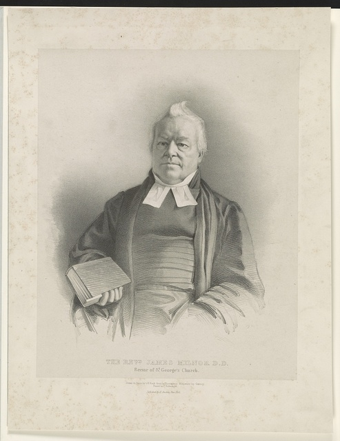 The Rev'd James Milnor D.D. rector of St. George's Church / drawn on stone by G.B. Black from a photogenic miniature by Gurney ; printed by C. Hullmandel.