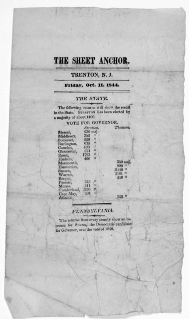 The Sheet anchor. Trenton. N. J. Friday Oct. 11, 1844. [Election returns].