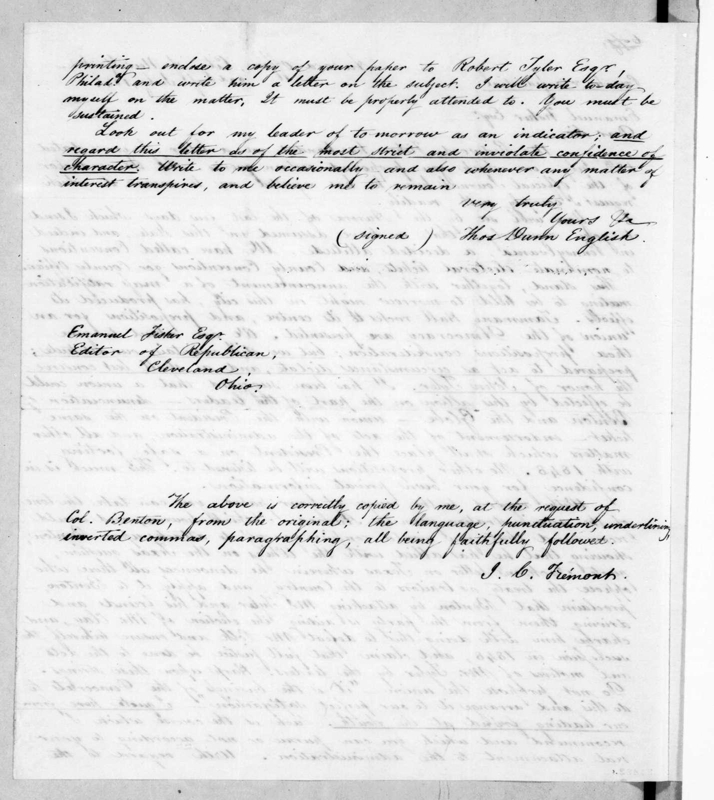 Thomas Dunn English to Emanuel Fisher, July 22, 1844