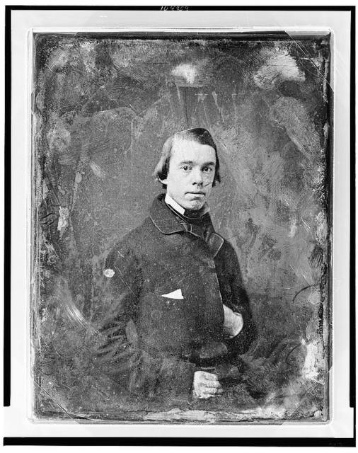 [Thomas Starr King, half-length portrait, three-quarters to right, eyes front, with one hand in coat]