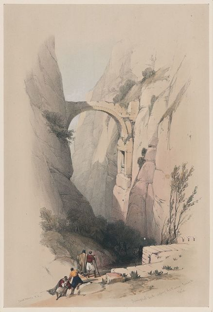 Triumphal arch across the ravine leading to Petra / David Roberts, R.A.