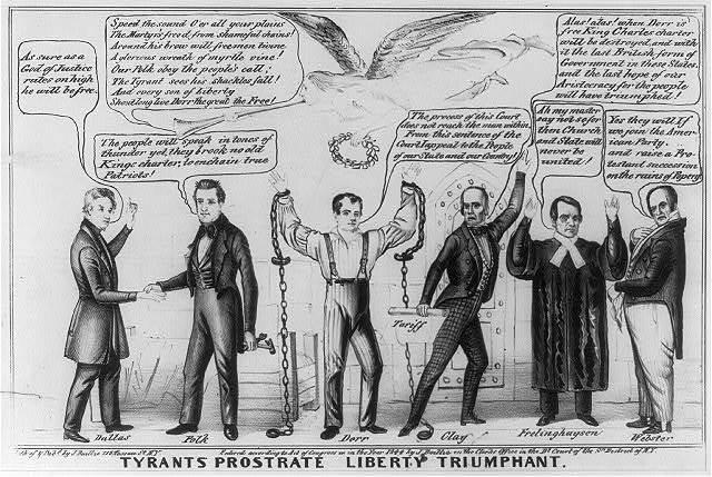 Tyrants prostrate liberty triumphant